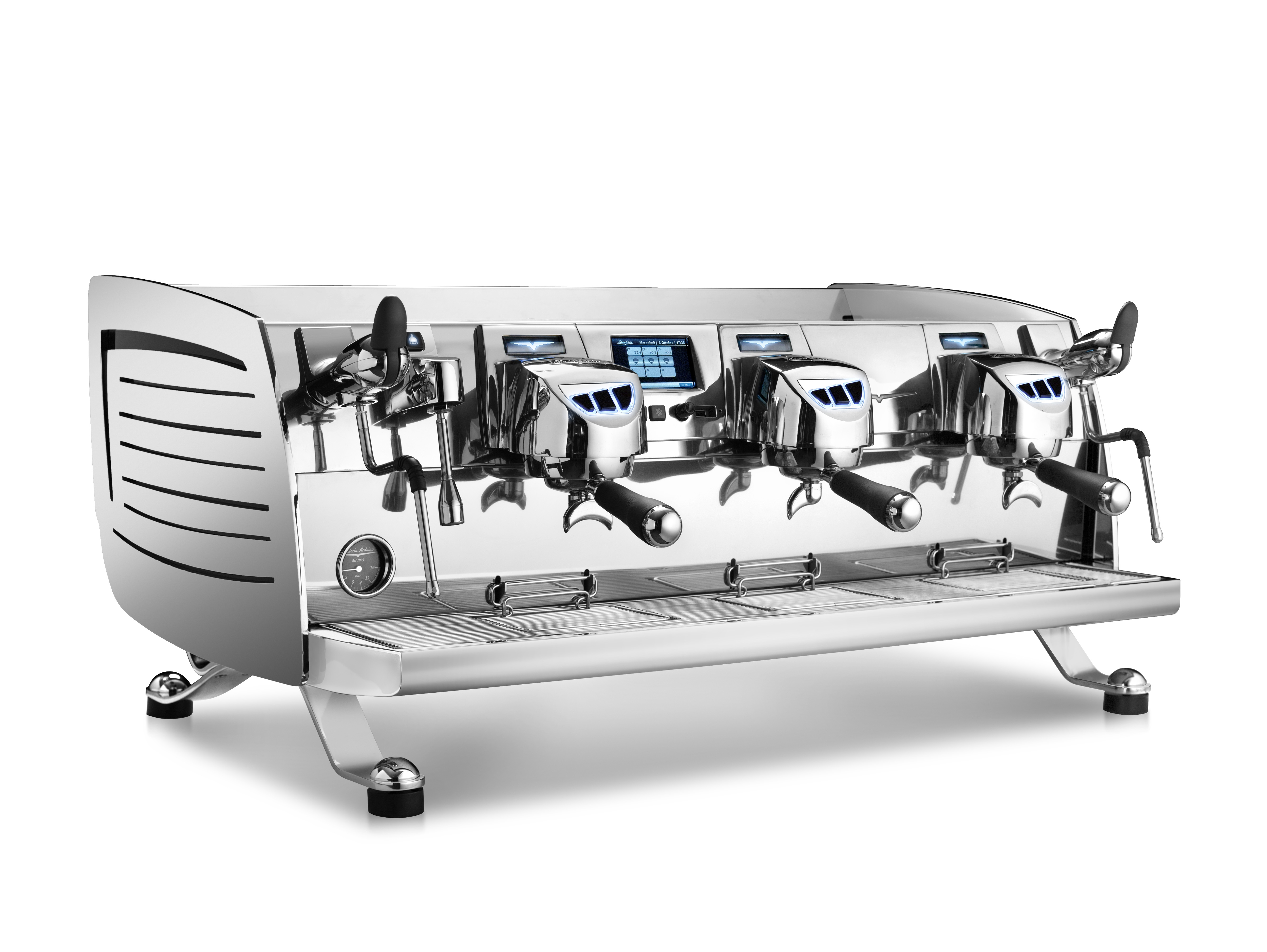 Siebträger-Espressomaschine Black Eagle, 3-gruppig, mit Manometer für  Pumpendruck, Farbe Edelstahl