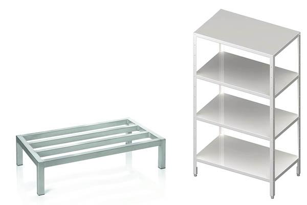 Lagerregale aus Edelstahl und Aluminium