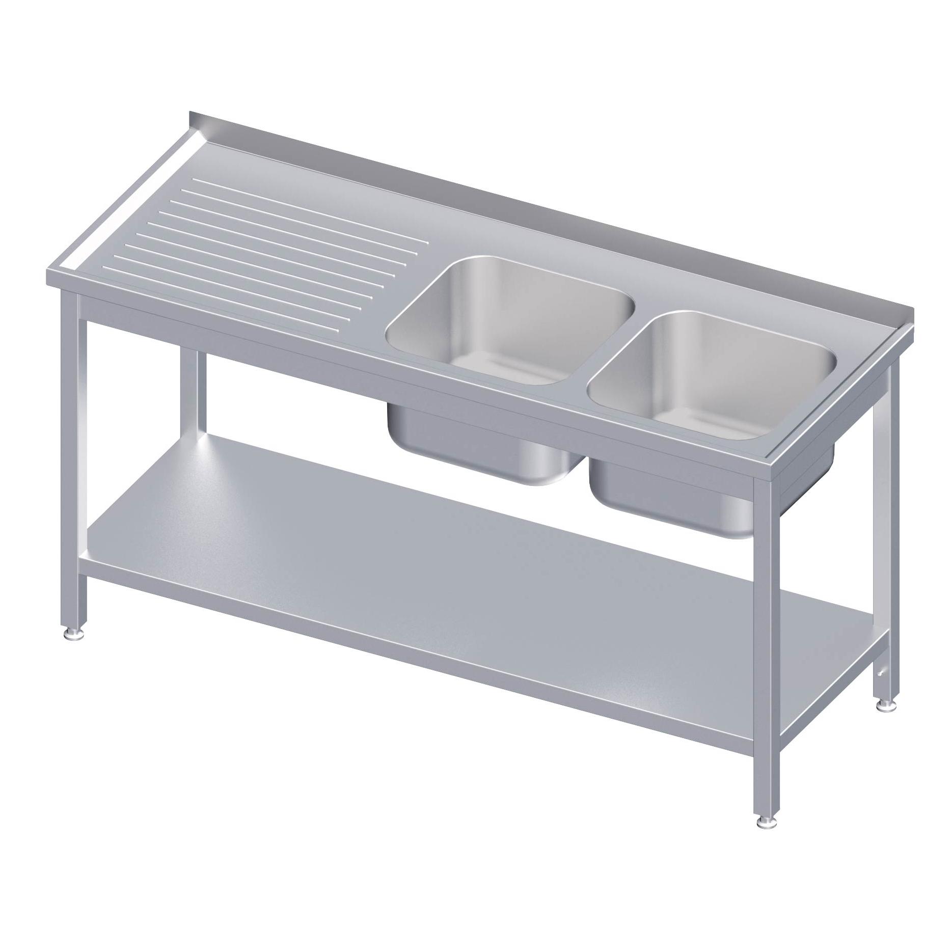 sp ltisch mit aufkantung mit zwei becken mit grundboden sp ltische 600 mm mit 2 becken. Black Bedroom Furniture Sets. Home Design Ideas